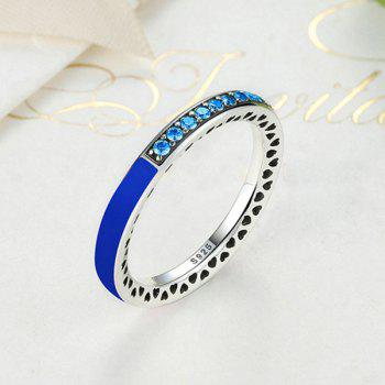 Rhinestone Heart Sterling Silver Circle Ring - DEEP BLUE DEEP BLUE