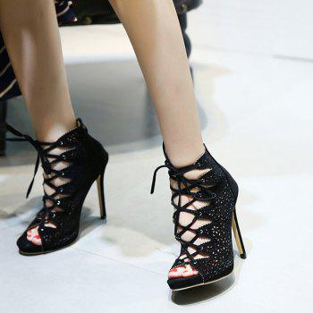 Stiletto Heel Cutout Tie Up Peep Toe Shoes - BLACK BLACK