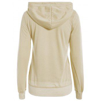 Simple Long Sleeve Hooded Pocket Design Women's Hoodie - APRICOT APRICOT