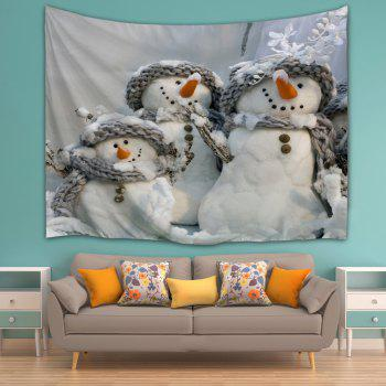 Snowmen Print Wall Art Hanging Tapestry - GRAY W71 INCH * L91 INCH