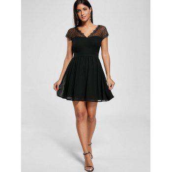 Lace Yoke Open Back Skater Dress - BLACK M