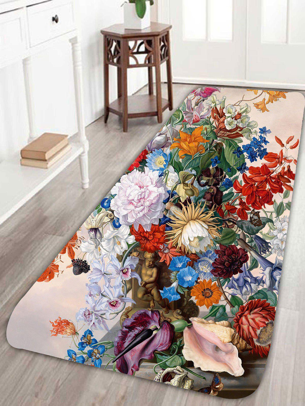 Coral Fleece Floral Printed Skidproof Rug - COLORFUL W24 INCH * L71 INCH