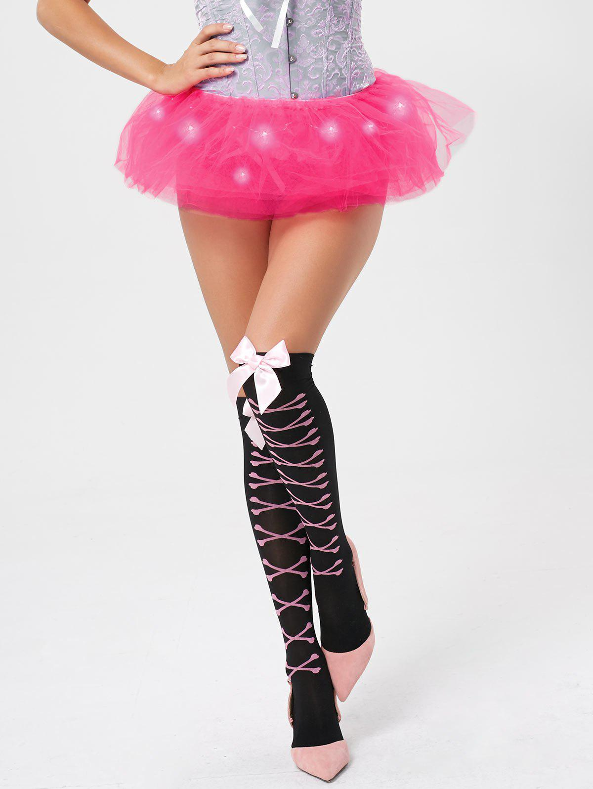 Tier Mesh Light Up Ballet Cosplay Skirt - DEEP PINK ONE SIZE