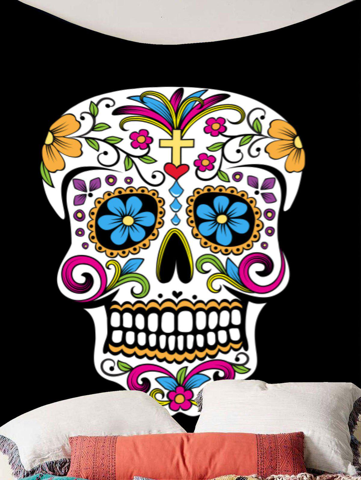 Skull Floral Print Wall Art Tapestry - COLORFUL W59 INCH * L51 INCH