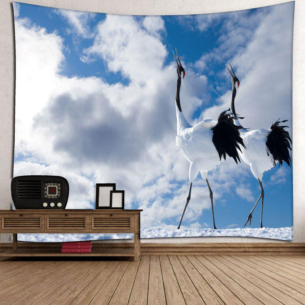 Grus Japonensis Wall Hanging Microfiber Tapestry - WHITE W79 INCH * L59 INCH