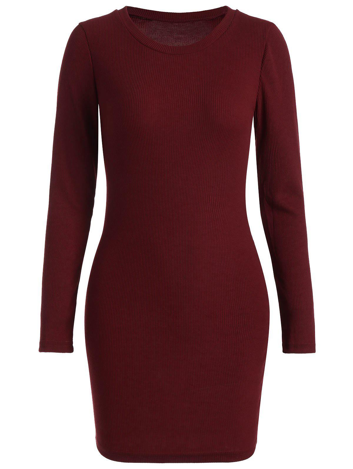 Ribbed Mini Bodycon Knitted Dress - WINE RED XL