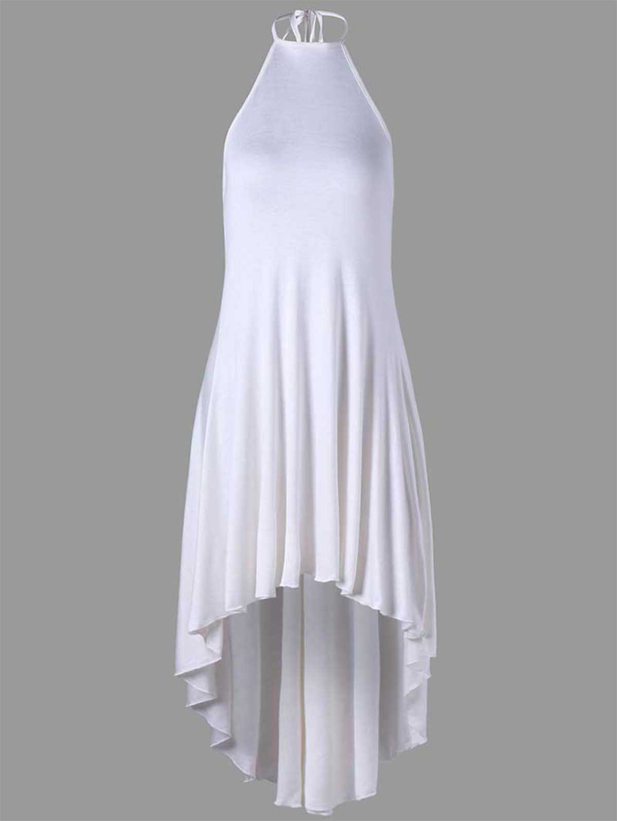 High Low Halter Backless Dress - WHITE 2XL
