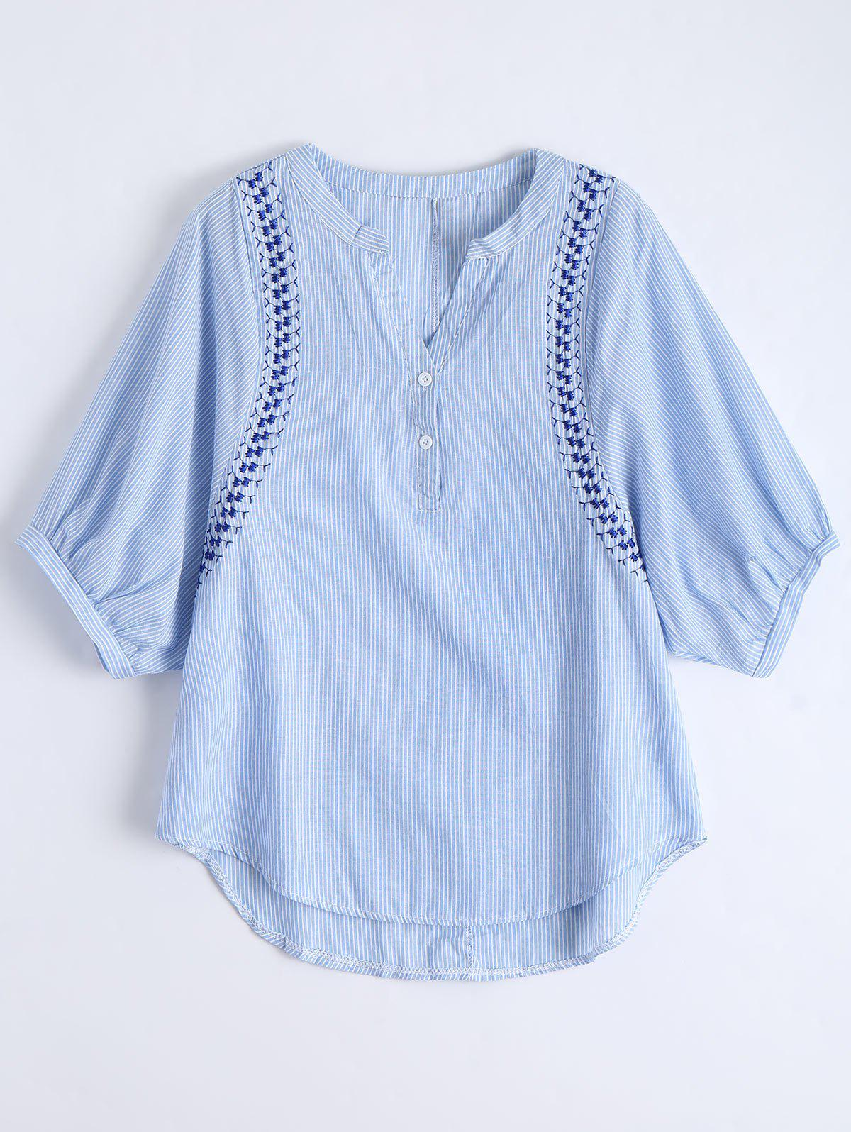 Embroidered Striped Casual Blouse - BLUE L