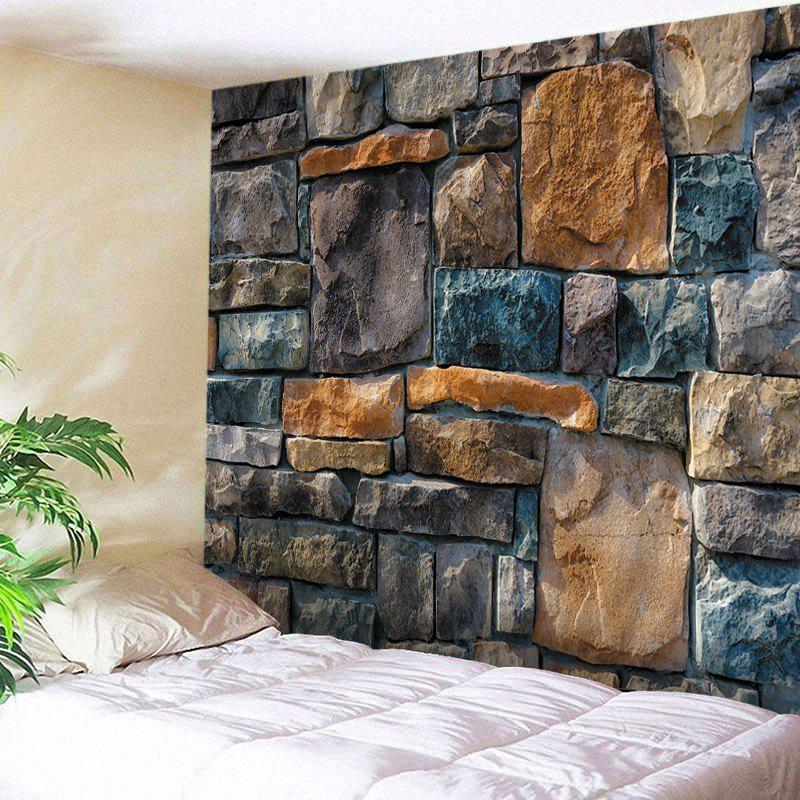 Wall Hangings Art Decor Stone Brick Wall Print Tapestry - COLORMIX W91 INCH * L71 INCH