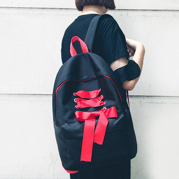 Color Block Ribbon Backpack - BLACK
