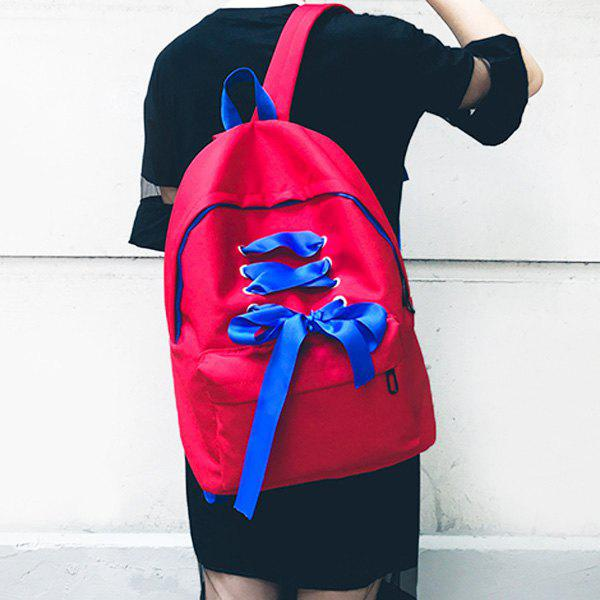 Color Block Ribbon Backpack - RED
