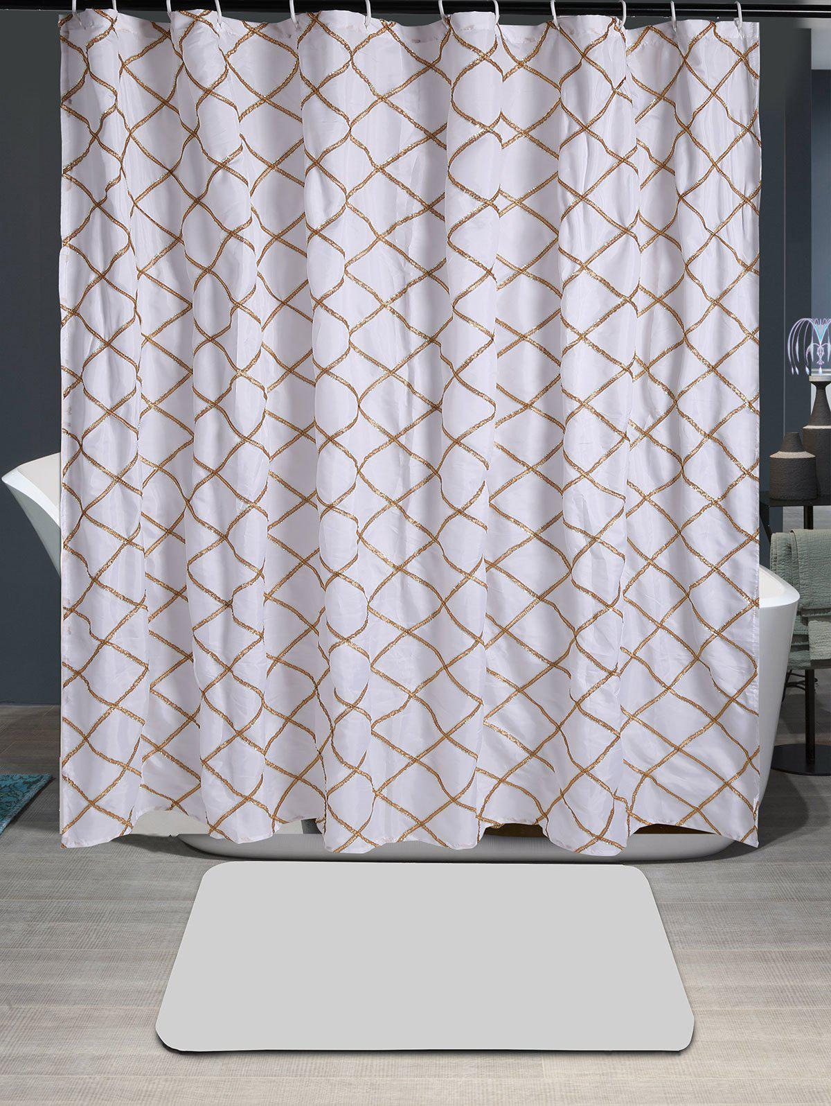 Plaid Laciness Waterproof Fabric Shower Curtain - GOLDEN W71 INCH * L79 INCH