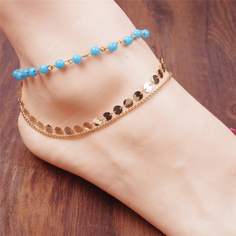 Layered Disc Sequins Beaded Chain Anklet - GOLDEN