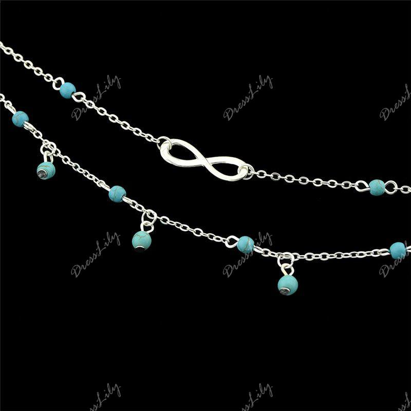 Faux Turquoise Infinite Charm Beads Anklet - Argent