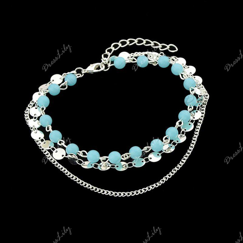 Layered Disc Sequins Beaded Chain Anklet - SILVER
