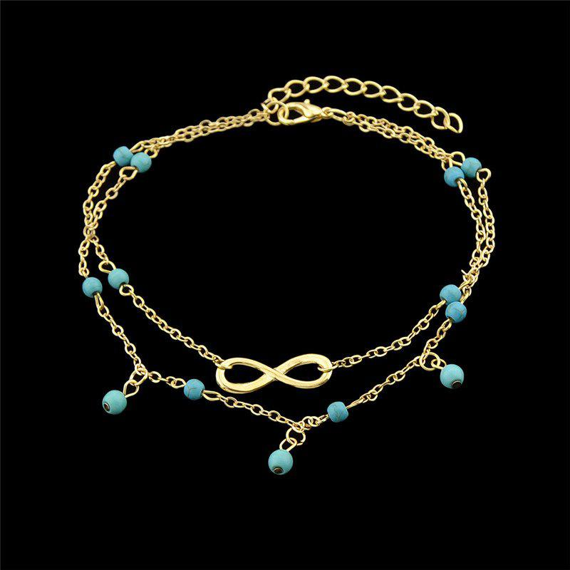Faux Turquoise Infinite Charm Beads Anklet - Or