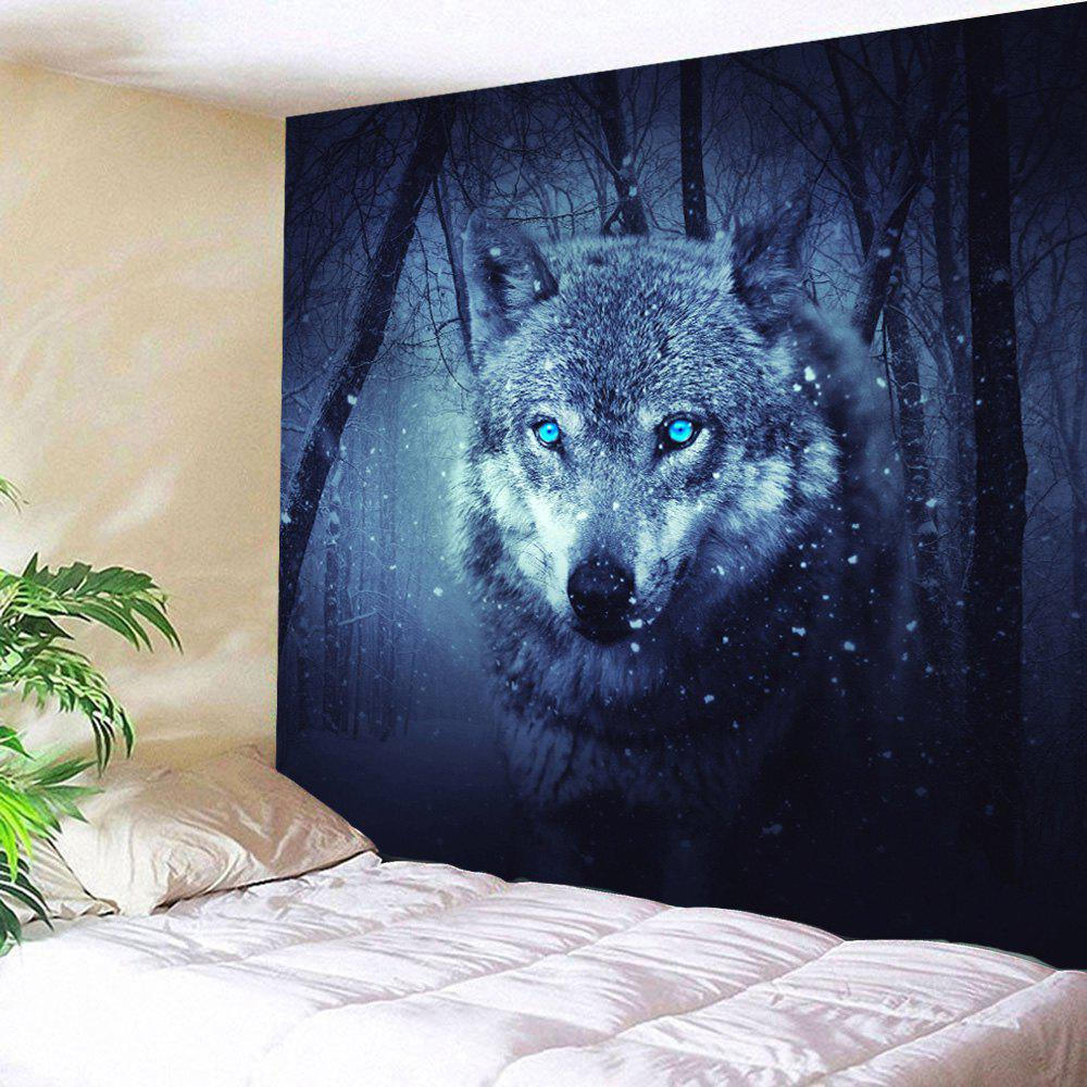Wall Decoration Snow Wolf Tapestry For Bedroom - DEEP BLUE W59 INCH * L79 INCH