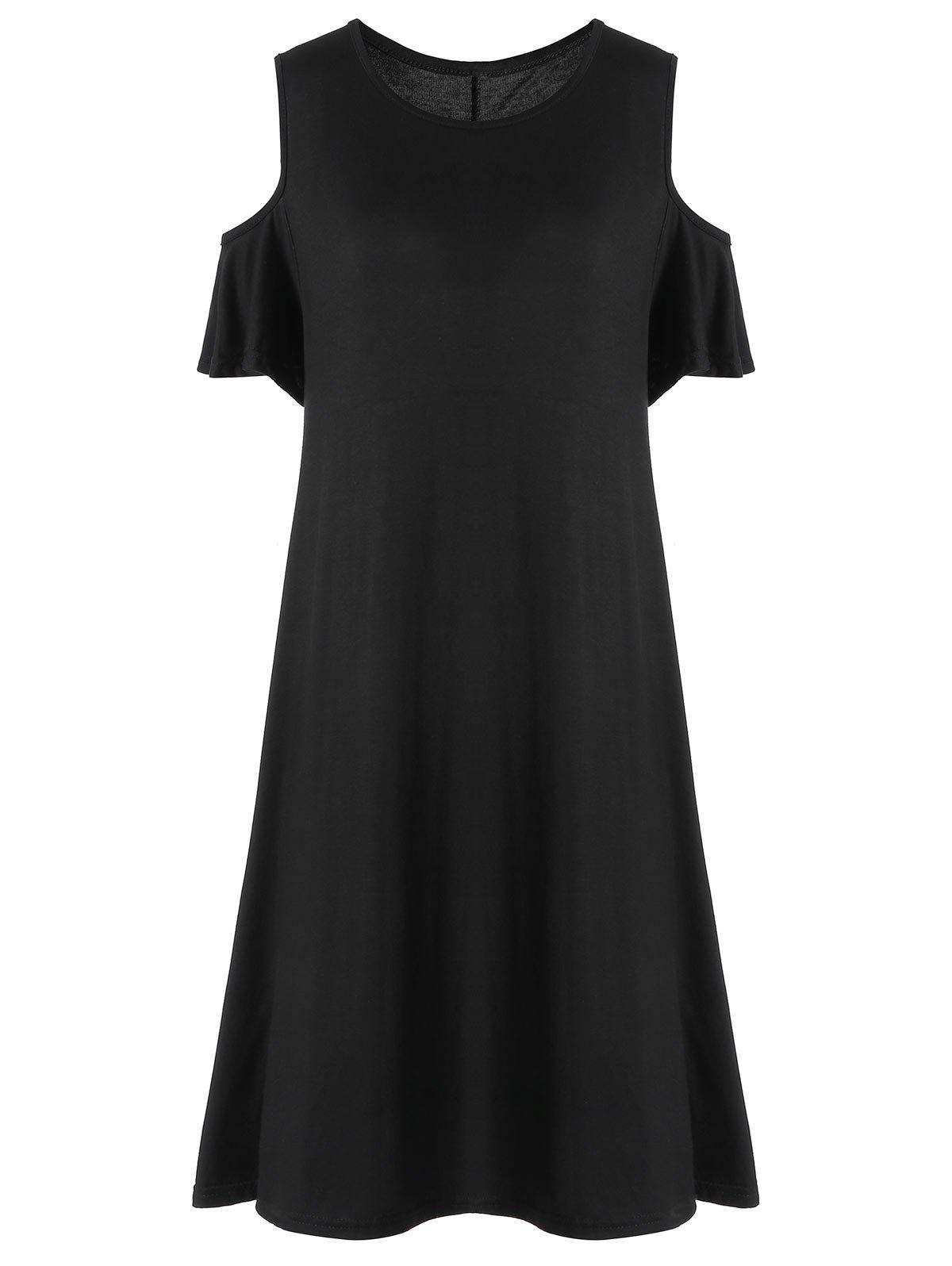 Cold Shoulder Knee Length Plus Size Dress - BLACK 2XL