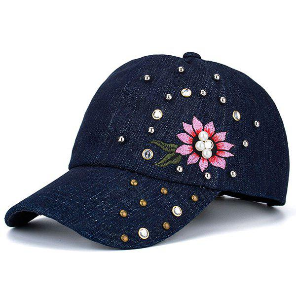 Floral Embroidered Rivet Rhinestone Embellished Baseball Hat - BLUE
