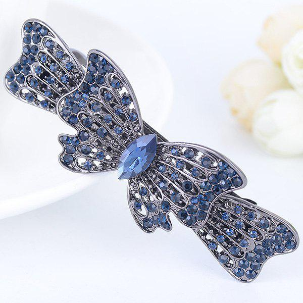 Rhinestone Inlay Bowknot Shape Barrette - BLUE GRAY