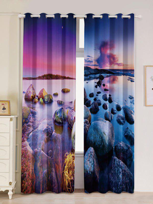 2Pcs Seaside Sunset Shortout Curtain Window Treatment - multicolorcolore W53 INCH * L84.5 INCH