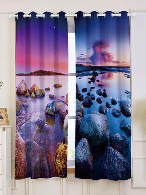 2Pcs Seaside Sunset Shortout Curtain Window Treatment - multicolore W53 INCH * L63 INCH