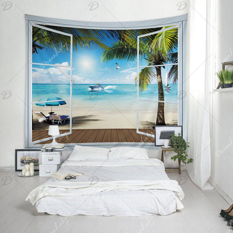 Wall Hanging Art Belcony Beach Print Tapestry - LAKE BLUE W91 INCH * L71 INCH