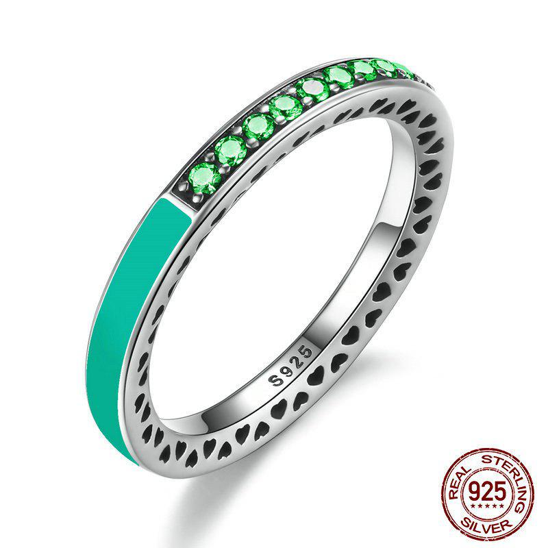 Rhinestone Heart Sterling Silver Circle Ring - GREEN 7
