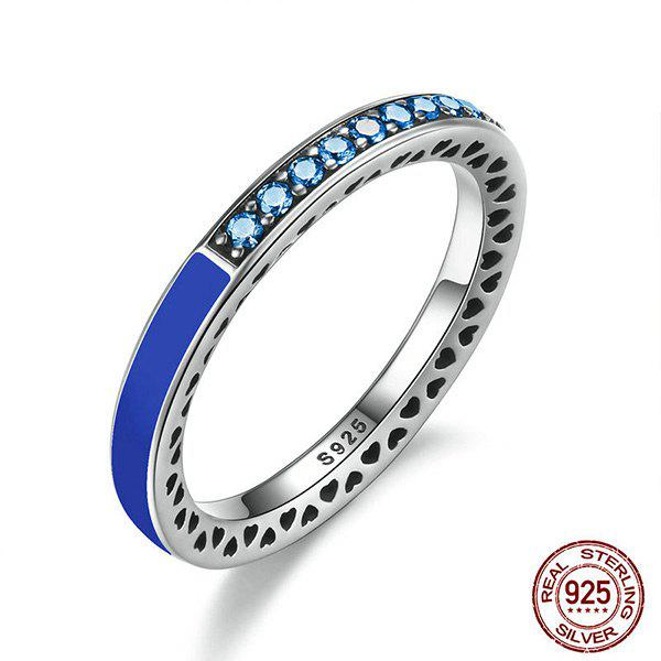 Rhinestone Heart Sterling Silver Circle Ring - DEEP BLUE 6