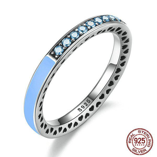 Rhinestone Heart Sterling Silver Circle Ring - LIGHT BLUE 8