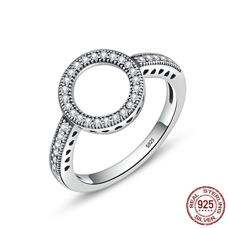 Hollow Out Heart and Round Rhinestones Ring - SILVER 8