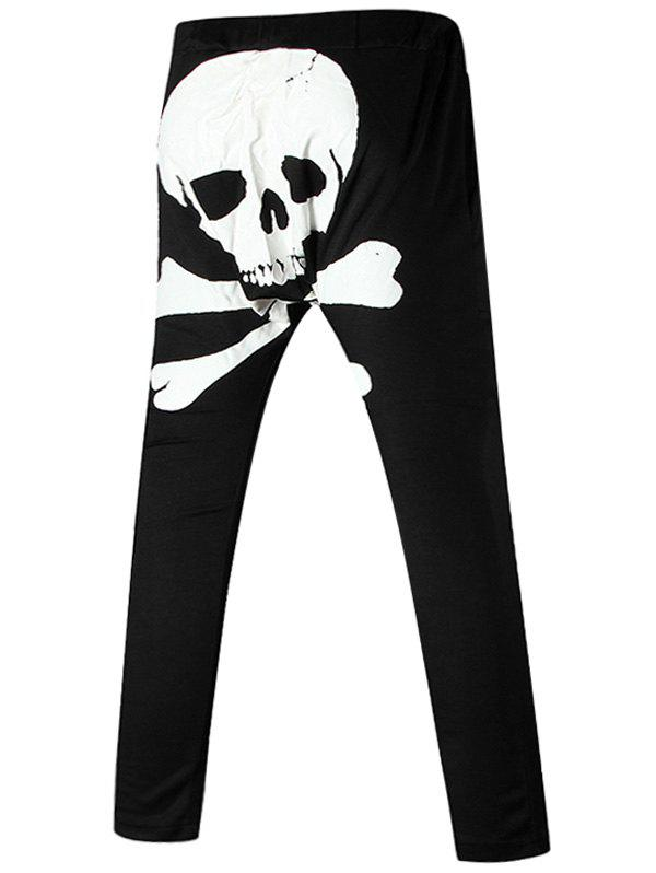 Drawstring Back Skull Print Harem Pants - WHITE XL