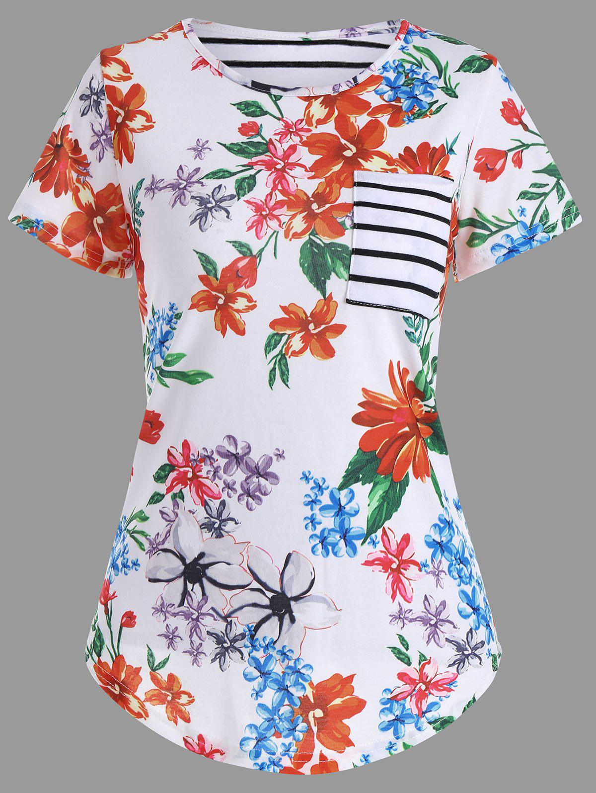 Floral Print Pocket T-Shirt - WHITE XL