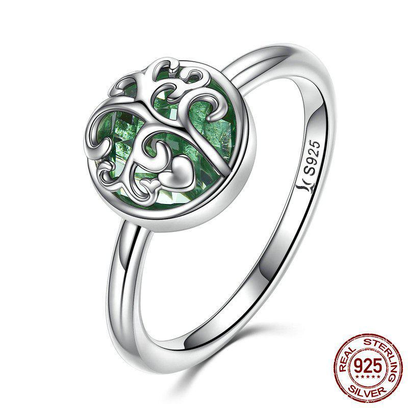 Sterling Silver Tree of Life Heart Ring - SILVER 8