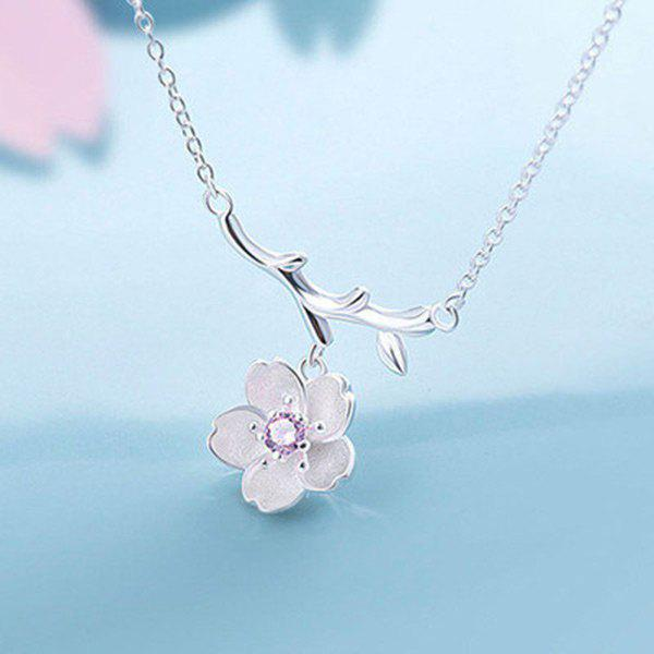 Sakura Tree Branch Pendant Necklace - PURPLE