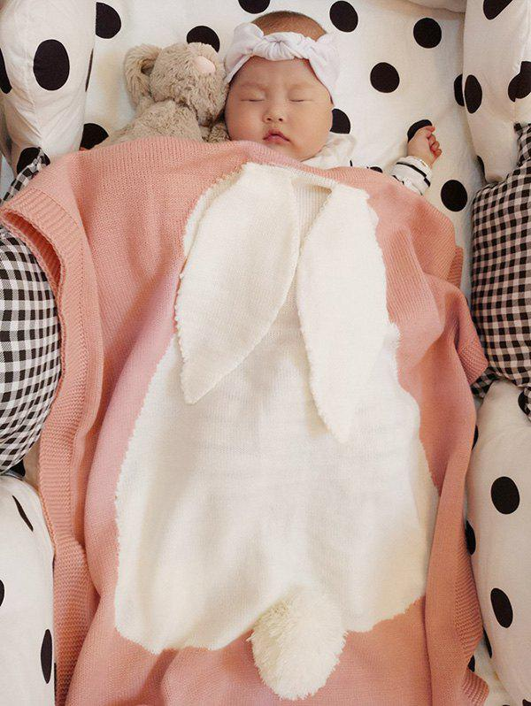 Kids Rabbit Knitting Soft Bed Blanket - PINK