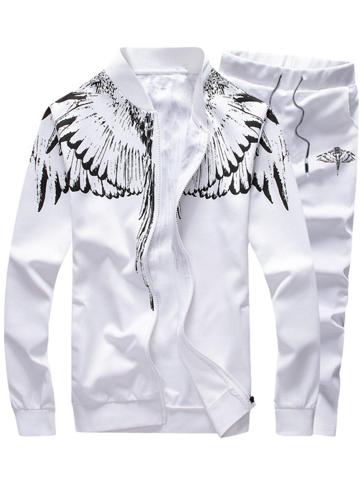 Wings Print Stand Collar Zip Up Jacket and Pants Twinset floral print zip up stand collar padded jacket