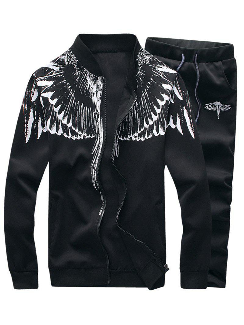 Wings Print Stand Collar Zip Up Jacket and Pants Twinset