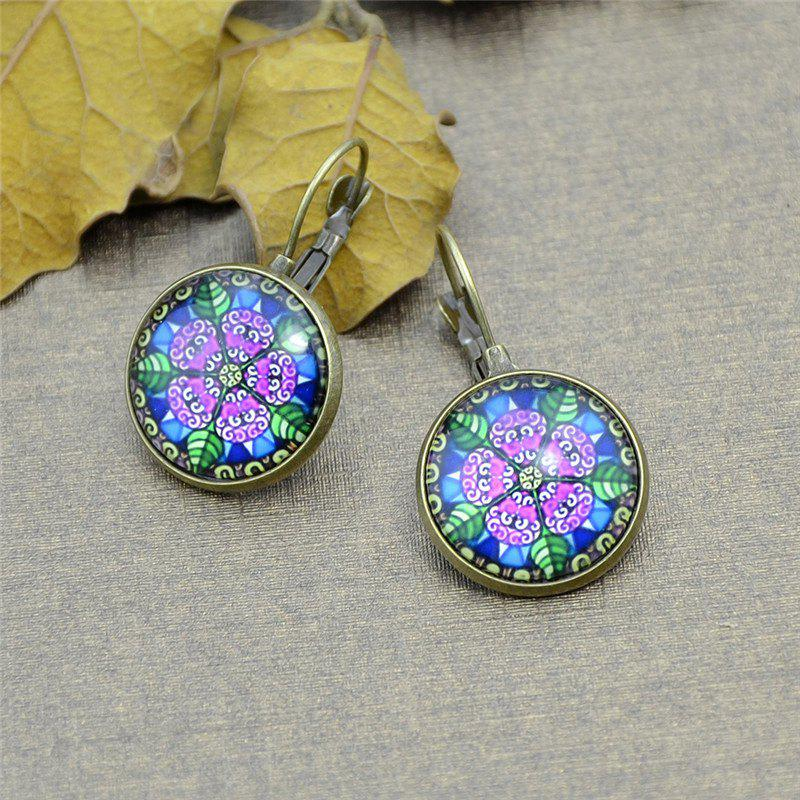 Flower Pattern Round Shape Clip On Earrings colorful flower pattern barrettes hair clip