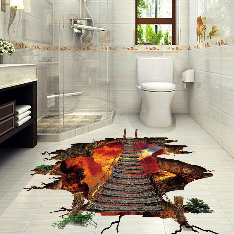 Volcano Chain Bridge Vinyl D Floor Sticker COLORMIX CM In - 3d vinyl flooring for sale