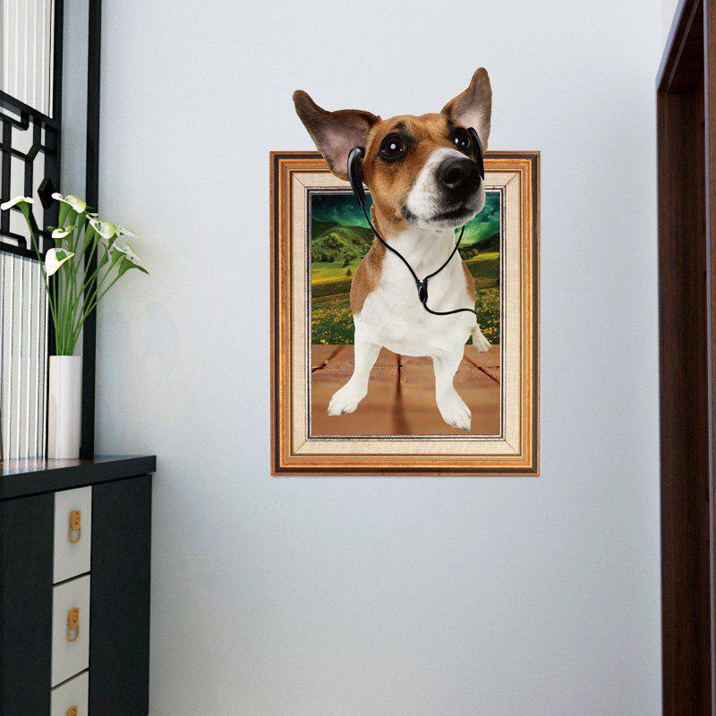 Photo frame 3d dog wall sticker for kids room brown 6090cm