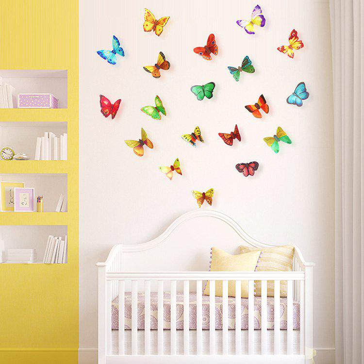 Home Decor 3D Butterfly DIY Wall Stickers Set elegant diy purple mangnolia and letters pattern wall stickers for home decor