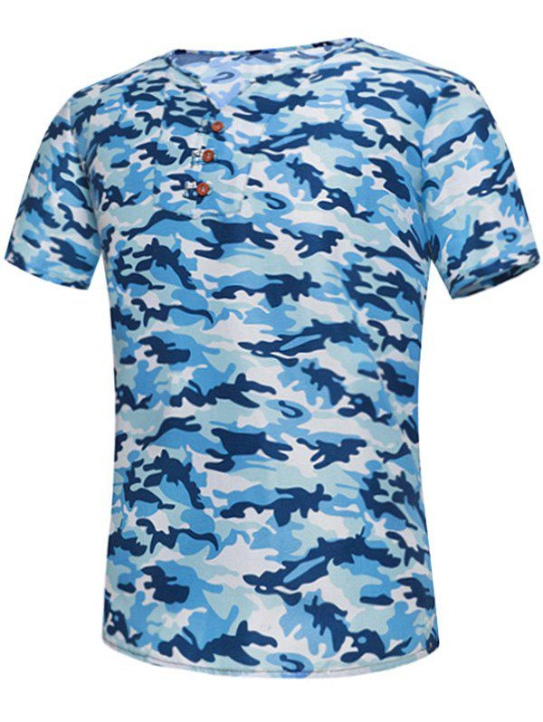 T-shirt encolure embellie Camo - Bleu L