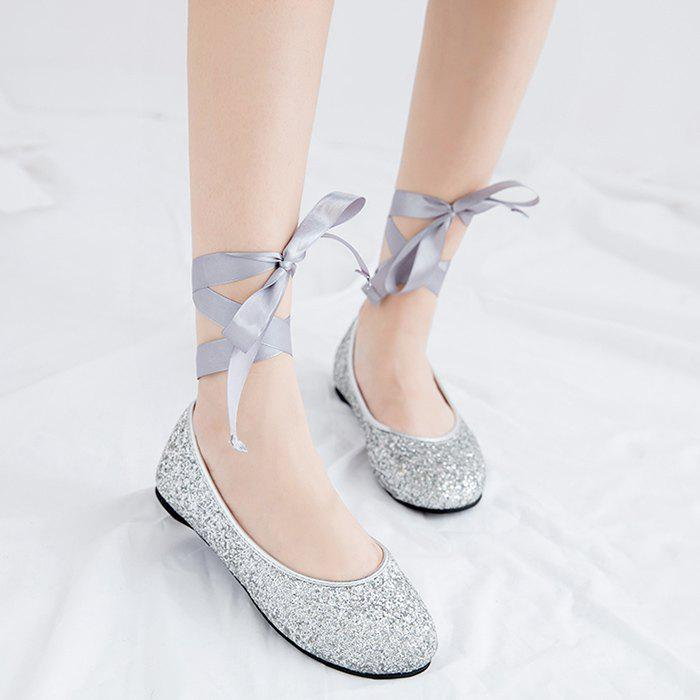 Sequined Tie Up Flat Shoes - Argent 37