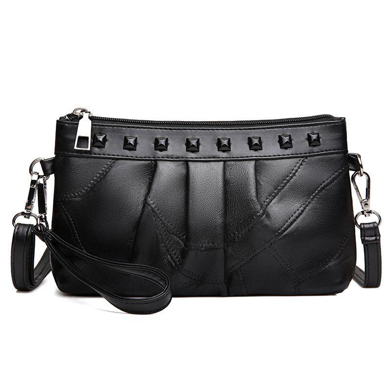 Rivet Ruched Faux Leather Crossbody Bag - BLACK