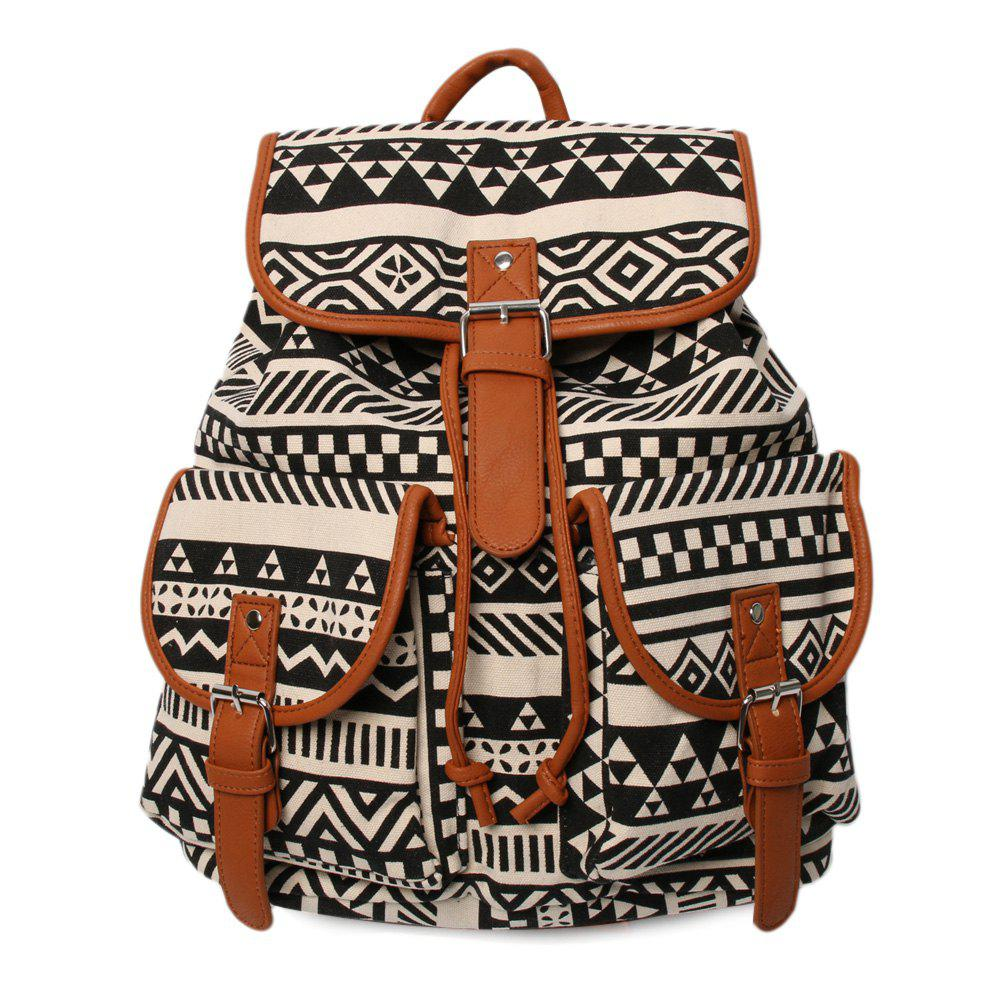 Ethnic Print Canvas Buckles Backpack - BLACK/BROWN