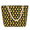 Canvas Printed Beach Bag - YELLOW/BLACK