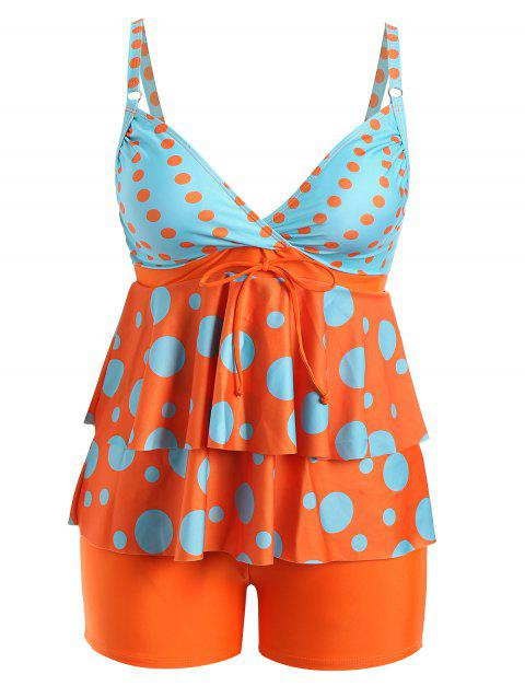 Plus Size Polka Dot Flounce Tankini Set - ORANGE 2XL