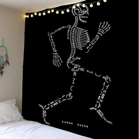 Running Skeleton Letter Wall Art Tapestry - BLACK W79 INCH * L59 INCH