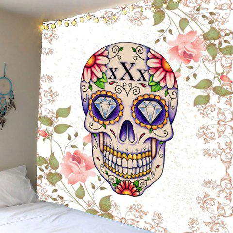 Rhinestone Floral Skull Wall Hanging Tapestry - COLORFUL W59 INCH * L59 INCH